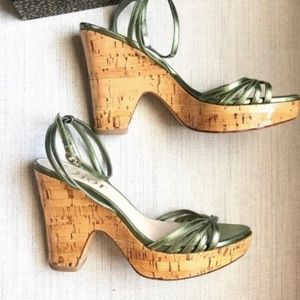 Dior Metallic Green Strappy Wedges